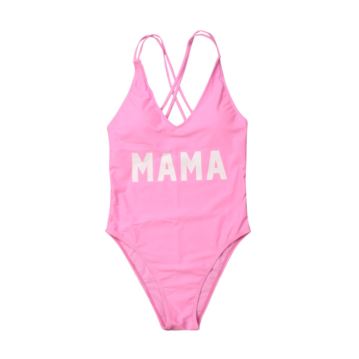 Mommy and Me Swimsuit Family Matching Baby Girls Women Letter Print One Piece Swimwear Bathing Suit