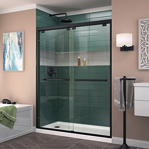 DreamLine Shdr-1660760-09 Encore 56-60 in. W x 76 in. H Bypass Sliding Shower Door in Satin Black Finish by DreamLine
