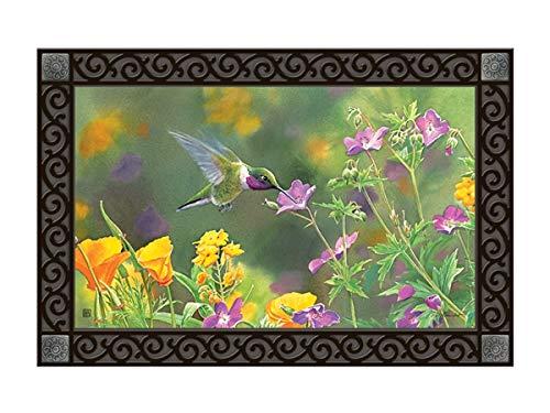 Mat Hummingbird Floor - Studio M MatMates Hummingbird Hover Spring Summer Decorative Floor Mat Indoor or Outdoor Doormat with Eco-Friendly Recycled Rubber Backing, 18 x 30 Inches