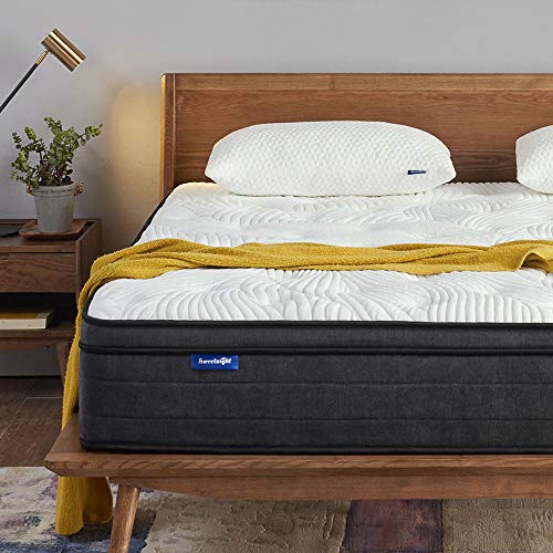 Sweetnight Queen Mattress in a Box - 12 Inch Plush Pillow Top Hybrid Mattress, Gel Memory Foam for Sleep Cool, Motion Isolating Individually Wrapped Coils, CertiPUR-US Certified, Queen ()