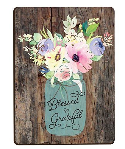 Blessed & Grateful Floral Mason Jar Wood Look 3 x 4 Inch Woo