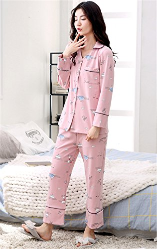 JOTHIN 2018 Damen Modisch Soft Nightgown Cosy Zweiteiler Pyjamas Rosa Schön Cartoon Heimservice