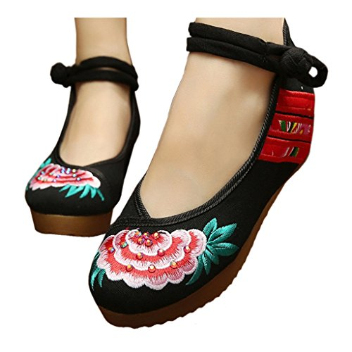 Embroidered black Shoes Thin Beijing 37 Style Cloth National Shoes Old wgU1fpqn