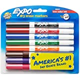 EXPO 86601  Low-Odor Dry Erase Markers, Fine Tip, Assorted Colors, 8-Count