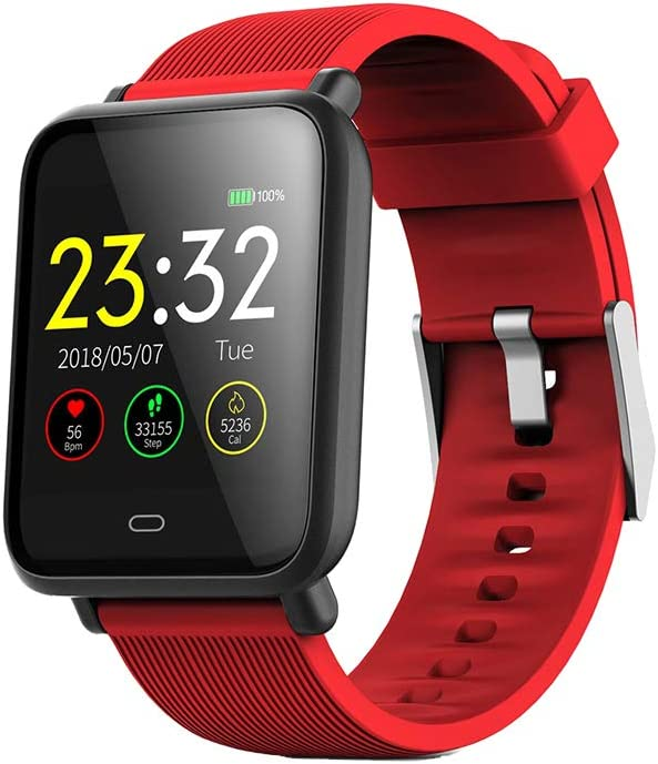 UKCOCO Q9 Smart Watch Band, IP67 Life Monitor de presión Arterial Impermeable Pantalla a Color Deporte Fitness Pulsera Reloj de Pulsera Inteligente Compatible con iOS Android Phone (Rojo)