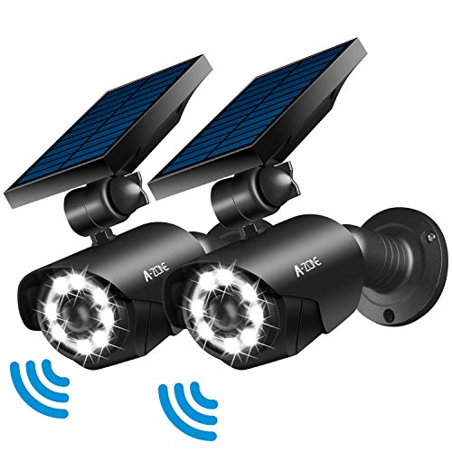 Solar Motion Sensor Light Outdoor - 800Lumens 8 LED Spotlight 5-Watt Solar Lights Outdoor IP66 Waterproof, Wireless Solar Flood Light for Porch Garden Patio Driveway Pathway,Aluminum,Pack of 2 (black)