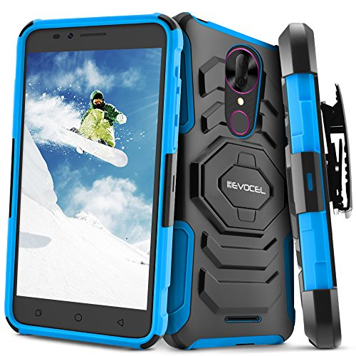 T-Mobile REVVL Plus Case, Evocel [New Generation] Rugged Holster Dual Layer Case [Kickstand][Belt Swivel Clip] for T-Mobile REVVL Plus, Blue (EVO-COPLUS-XX02) (Clip T-mobile)