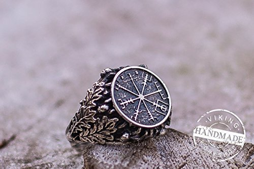 handcrafted-ring-with-vegvisir-symbol-runic-compass-sterling-silver-ring-with-oak-leaves-and-arcons-