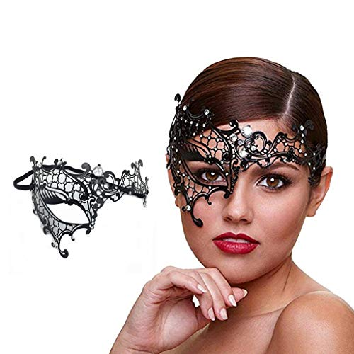 WJood Metal Masquerade Mask for Women Shiny Rhinestone Venetian Party Prom Ball Women Sexy Eye Mask for Halloween CarnivalParty Costume Ball,Half Face Silver