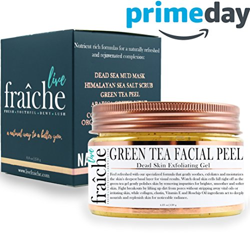 Dead Sea Exfoliating Gel - Live Fraiche 24k Gold Brightening Facial Peeling Gel Green Tea - 4.23oz -Secret Cure to Clogged Pores -Gentle Deep Exfoliator Key to Remove Dead Skin & Dirt for forever flawless clearer younger skin