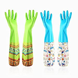 Household cleaning gloves Dishwashing gloves Latex Waterproof gloves (2-Pairs)Reusabl,Free get Cleaning cloth(2-Pack),Suitable for ladies. (Long)