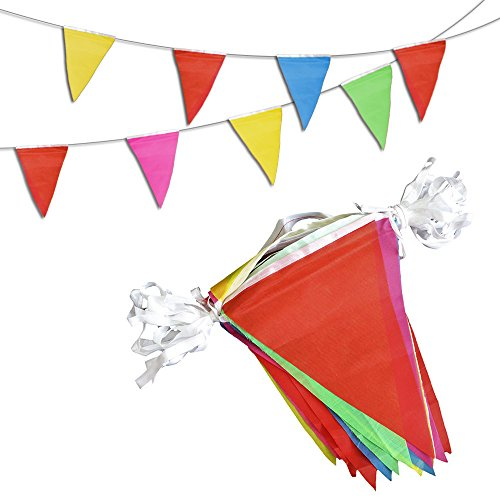 et Pennant Banner - 200 Multicolor Bunting Flags - Birthday Party Grand Opening Christmas Decorations (Grand Opening Pennants)