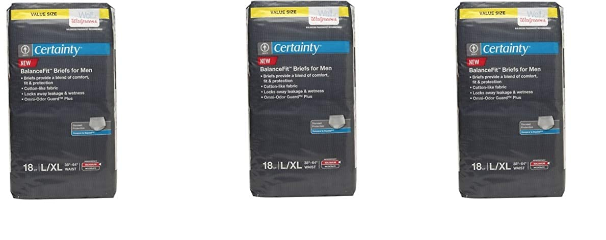 ebe593d1e212 Amazon.com: Walgreens Certainty Dri-Fit Underwear for Men, Maximum  Absorbency L/XL 18 ct(Pack of 3) Total 54 White: Clothing
