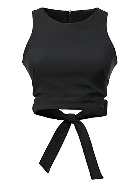 6bec7a44c79472 CHARLES RICHARDS CR Women's Bow Tie Back Cut Out Sleeveless Crop Top at  Amazon Women's Clothing store:
