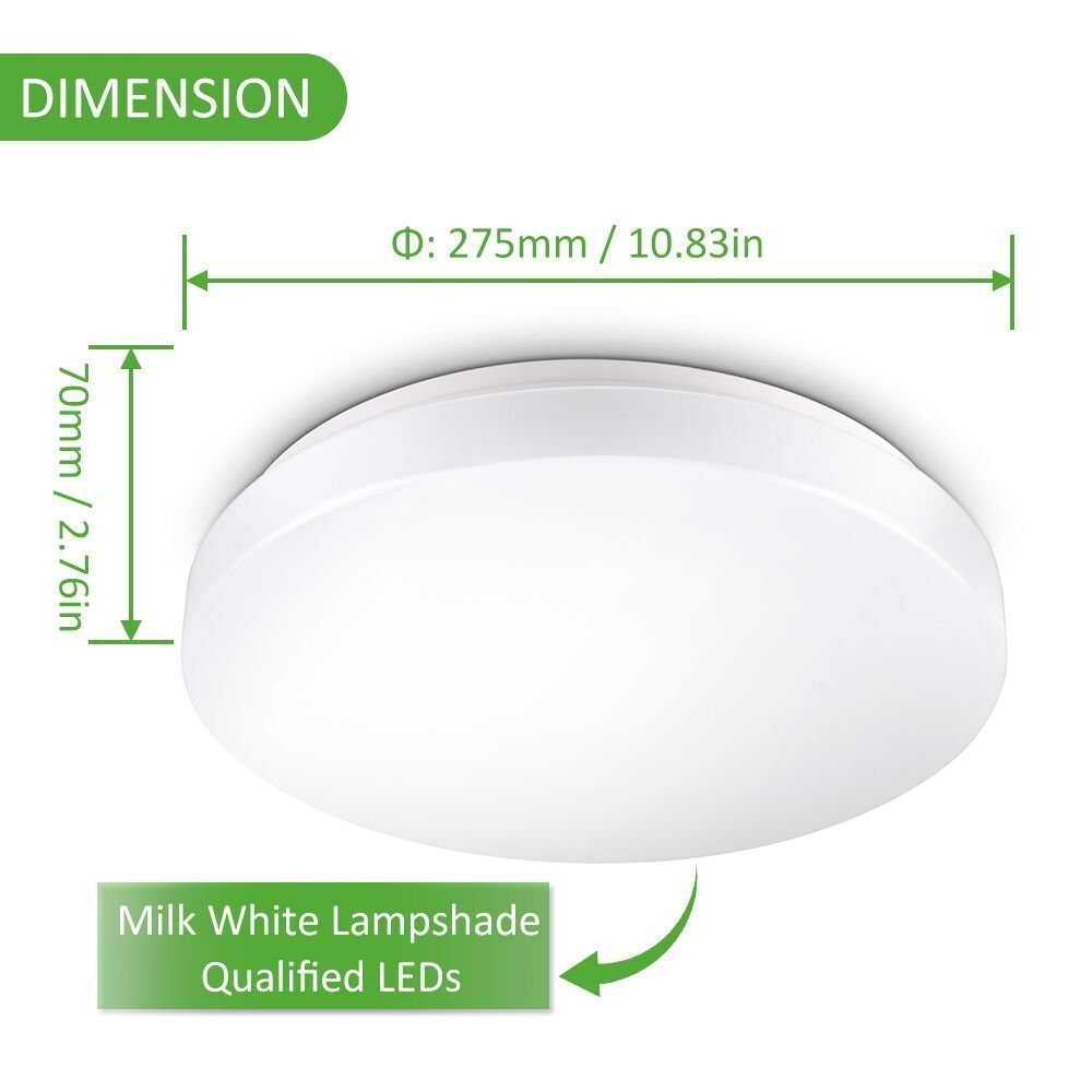 Ustellar Waterproof 12W LED Ceiling Lights, 11in, 100W Incandescent Bulbs Equivalent, IP44, 950lm, Lighting for Bathroom, Kitchen, Hallway, Flush Mount Ceiling Light, 6000K Daylight White by Ustellar (Image #7)