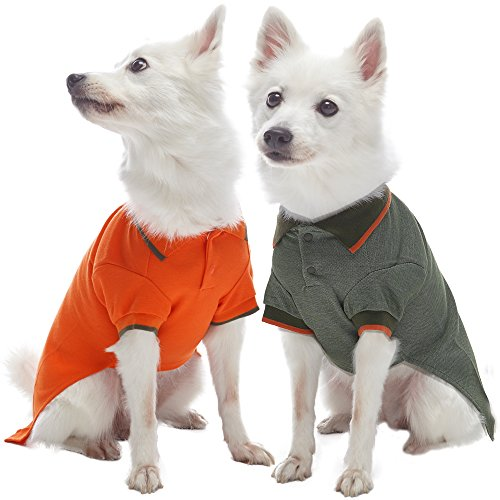 Blueberry Pet Pack of 2 Back to Basic Cotton Blend Dog Polo Shirts in Orange and Olive Green, Back Length 14