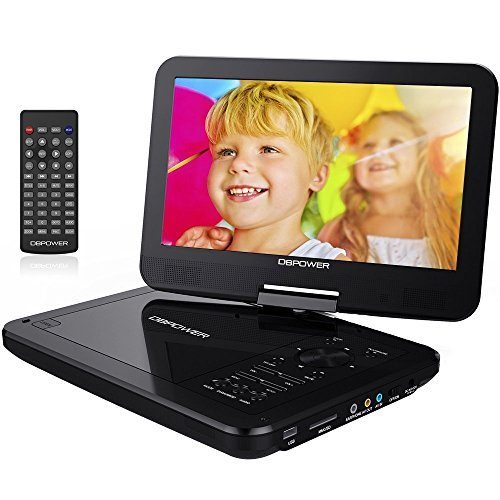 DBPOWER 10.5' Portable DVD Player, 5 Hour Rechargeable Battery, Swivel...