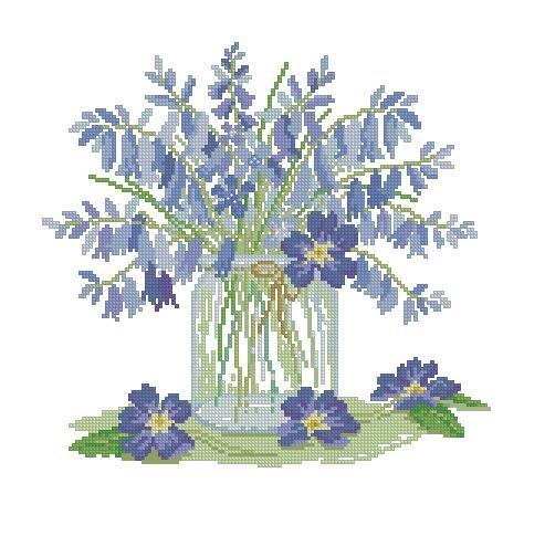 Kits de point de croix pour housse de coussin de fleurs bleues 40/x 40/cm Kits de point de croix pour housse de coussin Kits de broderie