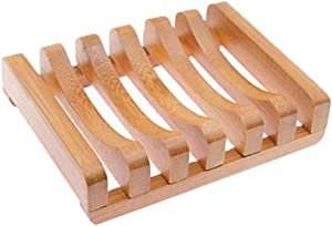 ORIONE 1Pcs Wooden Natural Bamboo Soap Dishes Tray Holder Storage Soap Rack Plate Box Container Portable Bathroom Soap Dish Storage Box for Bathroom Home Outdoor Hiking Camping Travel Use
