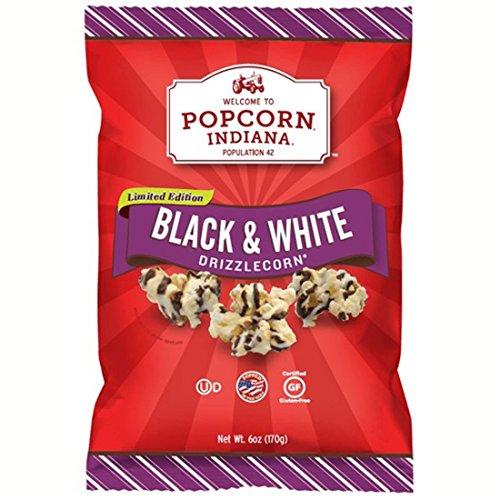 Popcorn Indiana Black and White Drizzle Corn Popcorn, 6 (Black And White Popcorn)