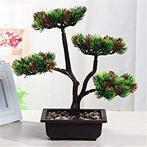 JruF Cypress Tree Green (About 33 cm High) Artificial Fake Flower Fake Tree, Louis Garden Artificial Flower Fake Rose in Picket Fence Pot - Potted Plant 20