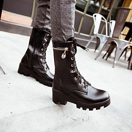 Carolbar Mujeres Zipper Lace Up Fashion Plataforma Popular Comfort Mid Heel Short Botas Negro