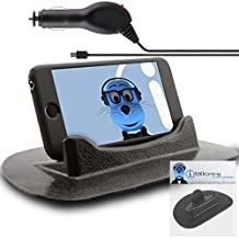 Alcatel One Touch Idol Black Sticky (NO GLUE) Mat Anti-Slip In Car Dashboard Desk Table Vertical / Horizontal Holder with 1000 mAh Micro USB In Car Charger