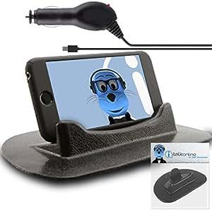 Prestigo Multiphone Duo 4300Sticky (sin pegamento) Alfombrilla Antideslizante para Salpicadero de Coche en soporte vertical/horizontal para mesa de escritorio con 1000mAh Micro USB cargador de coche En