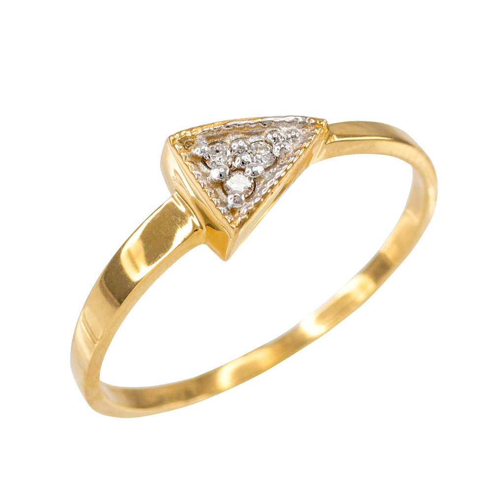 High Polish 10k Yellow Gold Three-Stone Diamond Triangle Ring (Size 5.5)