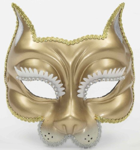Forum Tiger Venetian Mask, Gold, One Size