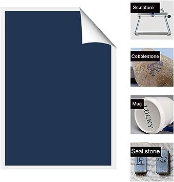 placas//piedra//vidrio//metal sin pintar. BLACK papel de marcado de grabado l/áser de carbono para taza de cer/ámica HUKOER Papel de m/áquina de grabado l/áser de metal