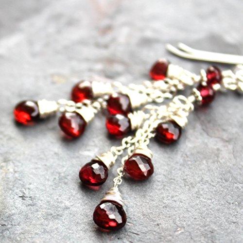 (Handcrafted Cascade Garnet Earrings Red Stone Waterfall Cluster, Sterling Silver, Artisan Jewelry)