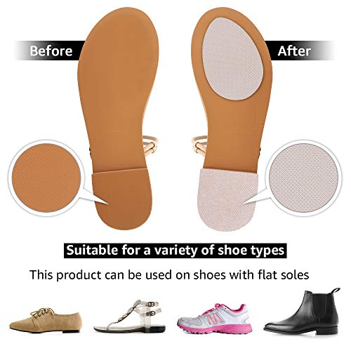 Beautulip Non-Skid Pads for Shoes Self-Adhesive Shoe Grips for Bottom of Shoes Sole Stick Protector Pack of 8 (Clear)