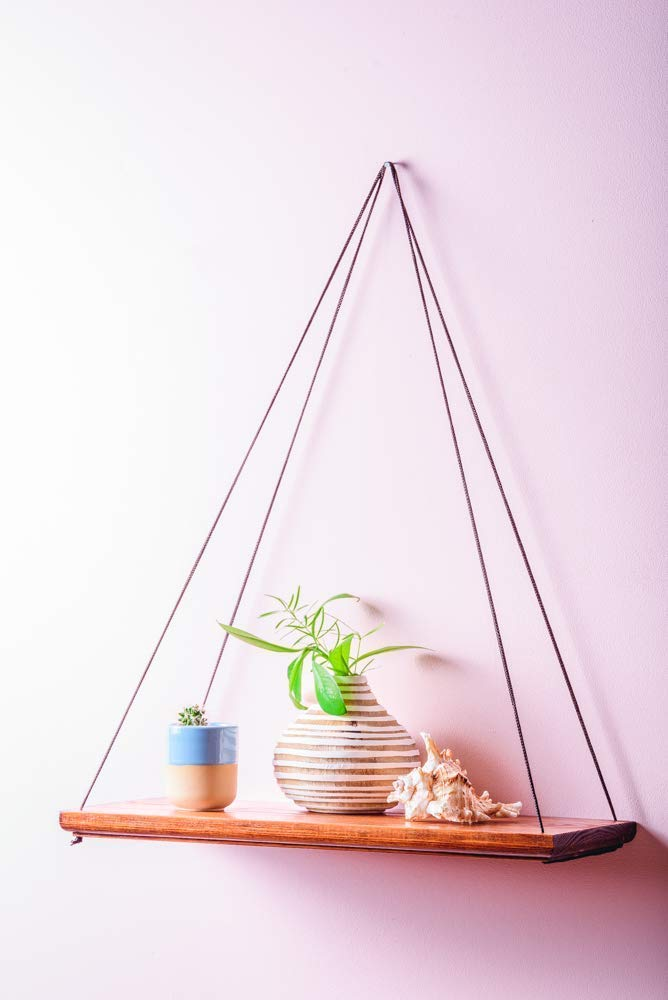 Wooden Hanging Shelf for Wall Plant Holder Wood Floating Shelves 14x6 Inch Decorative Mid Century Modern Pot Stand Centerpiece Flower Display for Living Room Housewarming Grandma Mothers Day Gift