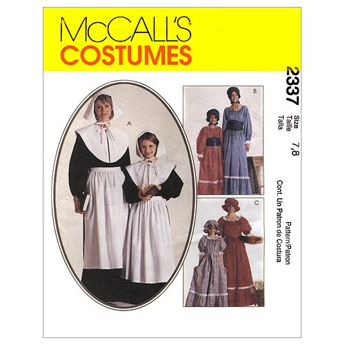 McCall's Patterns M2337 Misses' and Girls' Costumes, Size GIRL (Pilgrim Collar Pattern)