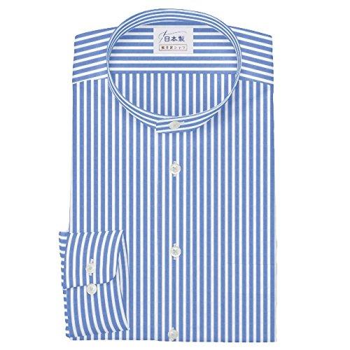 ワイシャツ 軽井沢シャツ [A10KZZS50]スタンドカラー 純綿 ライトブルーロンドンストライプ らくらくオーダー受注生産商品 B073WX4JL4 首回り:38 裄丈:85|ゆったり型 ゆったり型 首回り:38 裄丈:85