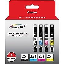 Canon CLI-251 Creative Park Premium Ink Cartridges Black, Cyan, Magenta, Yellow - 4 color pack