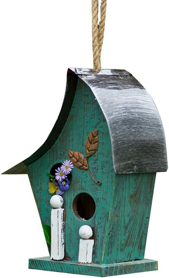 Jtoony Casita para Pájaros Mano de Madera Pintado Birdhouse Hanging Garden Casa del pájaro por el Exterior Decoración de Exteriores Pajarera Nido (Color : Green, Size : 13x15x29cm)