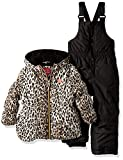 Pink Platinum Little Girls' Printed Super Snowsuit, Black Cheetah, 4