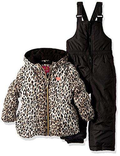 Pink Platinum Little Girls' Printed Super Snowsuit, Black Cheetah, 4 by Pink Platinum