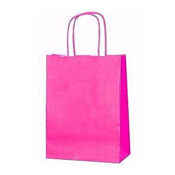 20 bolsas de papel kraft con asas trenzadas e ideales para utilizar en fiestas o para hacer regalos, Cerise, XS