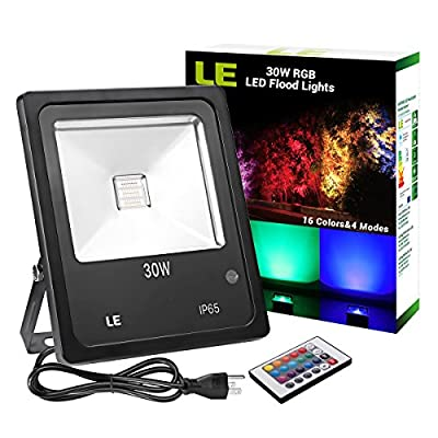 LE 30W Outdoor RGB LED Flood Lights with Remote Control, Multi Color, Dimmable, 16 Colors Change, 4 Modes, Waterproof Security Light