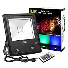 LE Remote Control 30W RGB LED Flood Lights, Colour Changing LED Security Light, 16 Colours & 4 Modes, Waterproof Wall Washer Light