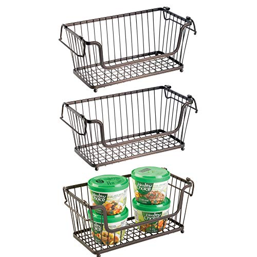 mDesign Modern Farmhouse Metal Wire Household Stackable Storage Organizer Bin Basket with Handles, for Kitchen Cabinets, Pantry, Closets, Bathrooms - 12.5 Wide, 3 Pack - Bronze