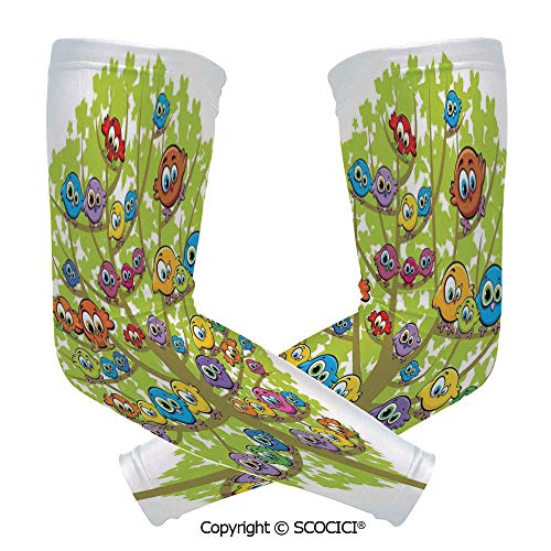 Comfort and Durable Lightweight Arm Guard Sleeve Cartoon Group of Fun Colorful Canary Bird Family on Oak Branches Animal Illustration Breathable, Flexible Sleeves Protection]()