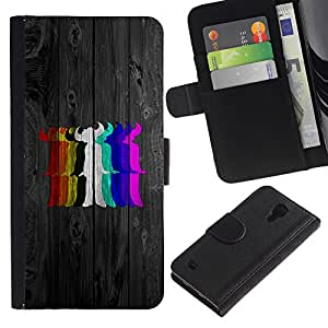 KingStore / Leather Etui en cuir / Samsung Galaxy S4 IV I9500 / Colores del arco iris Diablo
