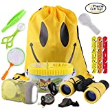 Outdoor Explorer Kit 12 Pieces Children Kids Toy Adventure Set with Binoculars Flashlight Compass Magnifying Glass Backpack Bag Bug Collector Whistle Butterfly Net Tweezers Great Boy Girl Gift Set for Camping Hiking Educational and Pretend Play