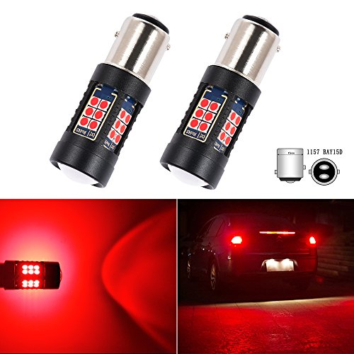 S25 1157 BAY15D P21/5W LED Bulb Brake Turn Signal Tail Side Marker Lights RED Projector Front Rear Lamps Wedge Bulbs Replacement Error Free Super Bright 3030SMD 12V 5W 6 Month ()