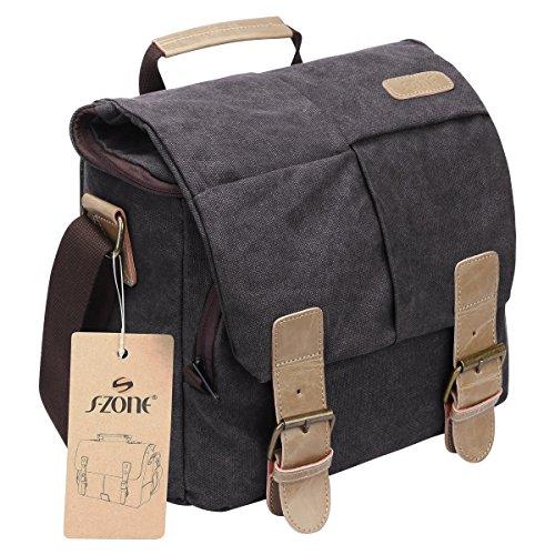 S-ZONE Vintage Waterproof Canvas Leather Trim DSLR SLR Shockproof Camera Shoulder Messenger Bag