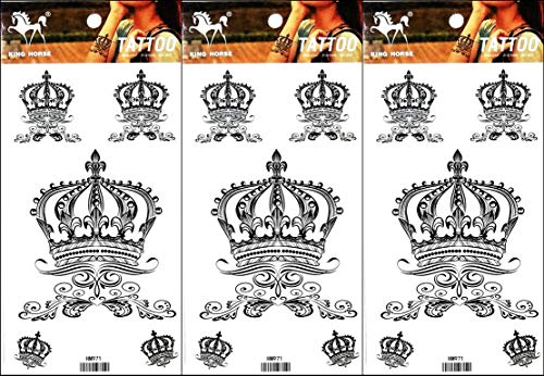 PP TATTOO 3 Sheets Temporary Tattoos Crown Princess Queen Fake Body Arm Chest Shoulder Tattoos for Men Women Boy Girls…